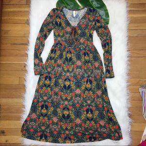 Xhilaration Floral Printed Long Sleeved Dress EUC